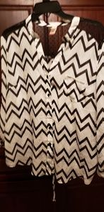 White blouse with black Chevron pattern
